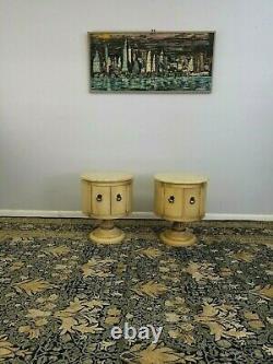 Mid-century Pair Italian Marble Top Wood Drum End Tables Nightstands 1960's