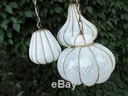 Midcentury Feldman Triple Pendant Italian Caged Latticino Glass Chandelier Lamp