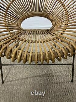 Midcentury Rattan Hoop Chair in the Style of Abraham or Albini 1950s Vtg EUC