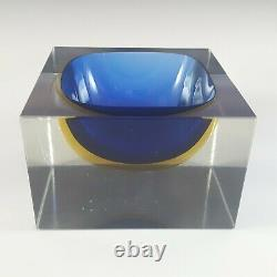 Murano Faceted Blue & Amber Sommerso Glass Block Bowl