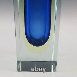 Murano Faceted Blue & Uranium Green Sommerso Glass Block Vase