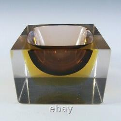Murano Faceted Brown & Amber Sommerso Glass Vintage Bowl