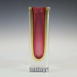 Murano Faceted Pink & Amber Sommerso Glass Block Vase