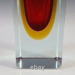 Murano Faceted Red & Amber Sommerso Glass Block Vase