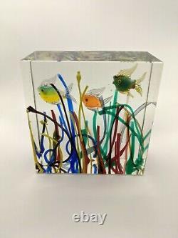 Murano Glass 3 Fish Aquarium Block