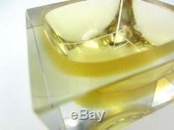 Murano Mandruzzato block faceted bowl scarce amber in amber sommerso art glass