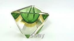 Murano apple green amber sommerso faceted triangular art glass bowl Flavio Poli