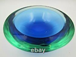 Murano da Ros Cenedese barbini geode blue in green sommerso art glass bowl