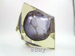 Murano faceted purple Sommerso art glass block bowl HUGE SIZE