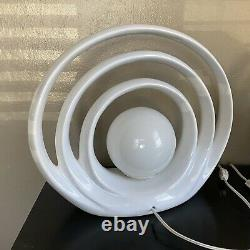 PAIR Gorgeous Mid Century Modern Op Art Ceramic Arch Table Accent Lamps
