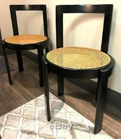 PAIR Italian Bentwood Thonet Black Cane Dining Accent Chair Set Mid Cent Modern