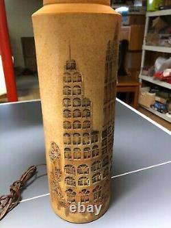 PAIR Mid Century Modern Aldo Londi Lamps Bitossi Italy Art Pottery 5312 pattern