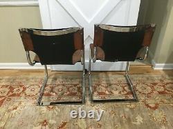PAIR Mid Century Modern Chrome & Italian Leather Bauhaus Chairs BREUER ERA