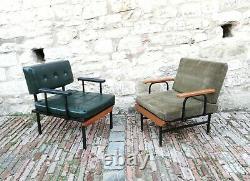 PAIR mid century Vintage Lounge chairs Cubism ISA BERGAMO italy 1950s