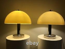 PAIR of 1970 Vintage Italian Chrome & Perspex Prova Mushroom table Lamps by BHS