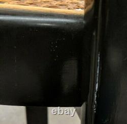 PAIR vintage mid century Italian BAUHAUS MODERN Black Laquer round cane chairs