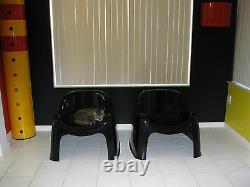 Pair (2) Toga Chairs Sergio Mazza Artemide 1968 Black
