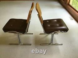 Pair 2 Vintage Italian Mid Century CHROME Modern Breuer Cesca CAIN BACK CHAIRS