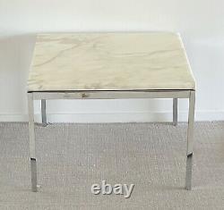 Pair Florence Knoll Italian Carrara Marble Side Table Mid-century Eames Era