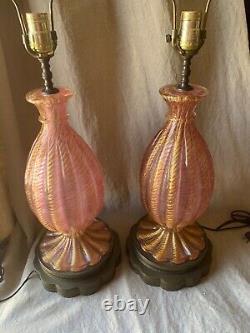 Pair Italian Murano Venetian CORDONATO D'ORO Glass Table Lamp Barovier Toso Vntg