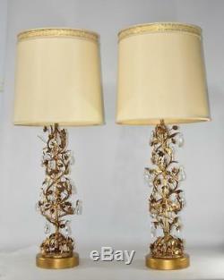 Pair Mid Century Modern Marbro Italian Tole Gilt Crystal Floral Vine Lamps