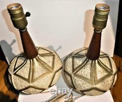 Pair Mid Century Studio Pottery Walnut Italian Style Table Lamp-Raymor Martz Era
