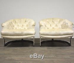 Pair Milo Baughman Style Chrome White Lounge Chairs Mid Century Modern Italian