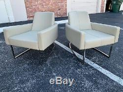 Pair Of MID Century Modern Italian Horseshoe Shape Lounge Chairs
