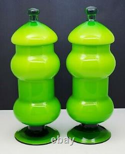 Pair Vintage Empoli Italian Green Cased Glass Footed Apothecary Jars