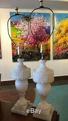 Pair of Two 2 Italian Alabaster Carving Carved Lamps Art Mid Century Modern Deco