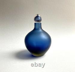 Paolo Venini Inciso Murano Glass Bottle / Decanter in Blue Yellow Sommerso 2005