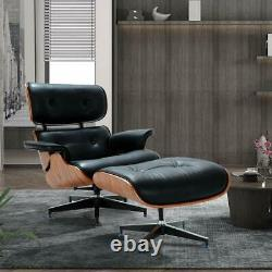 Premium Eames Lounge Chair and Ottoman Italian Black Leather Real Palisand Wood