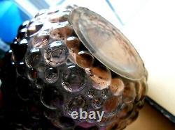 Purple Hobnail Genie Bottle Decanter 1960s Rossini Vintage Glass Empoli MCM