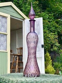 Purple Hour Glass Vintage MCM Italian Empoli Genie Bottle Decanter Glass