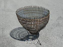 RARE 60s FRANCO ALBINI STYLE ITALIAN WICKER & GLASS HOOP END COCKTAIL TABLE