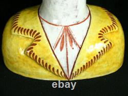 RARE MCM Horchow Italy Hand Painted Man & Woman Head Bust Vase Pair