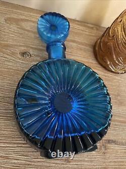 RARE Vintage Empoli Blue Glass Sunburst Decanter Bottle Tynell Style Italy