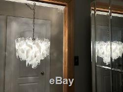 Rare Authentic Large Camer Glass Murano Chandelier Vintage Mid Century Modern