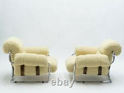 Rare Pair of Italian Tucroma armchairs by Guido Faleschini for Mariani 1970s