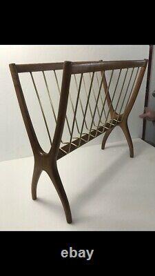 Rare Raymor Italian Mid Century Modern Brass & Wood Magazine Rack For Raymor