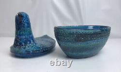 Raymor Bitossi Rimini Italy MCM Aldo Londi Blue Lidded Ceramic Bowl Bird Pigeon