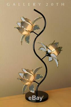 Regency! MID Century Modern 3-shade Laurel Lotus Table Lamp! Italy Vtg 1960s