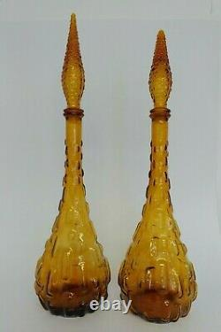 Set Of 2 VTG Amber Empoli Glass Genie Bottle Decanter Made In Italy With Stopper