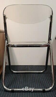 Set of 2-1960's Italian Castelli Plia Clear Acrylic Lucite/Chrome Folding Chairs