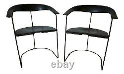 Set of 2 Black Leather Steel Cantilever Arrben Italy Chairs Mid-Century Modern
