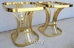 Set of 2 Italian MILO BAUGHMAN Style Sculptural Brass Glass End Side Tables MCM