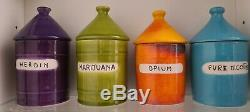 Set of 4 Raymor Italy Mid Century Vice Jars Drug Marijuana Heroin Opium Nicotine
