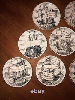 Set of 8 Fornasetti Plates 4 Velieri Tall Ship Coasters MCM Mid Century