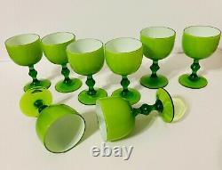 Set of 8 Vintage Carlo Moretti Bright Green Italian Cased Wine Glasses/Goblets