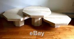 Set of Three Mid-Century Modern Italian Travertine Coffee Tables